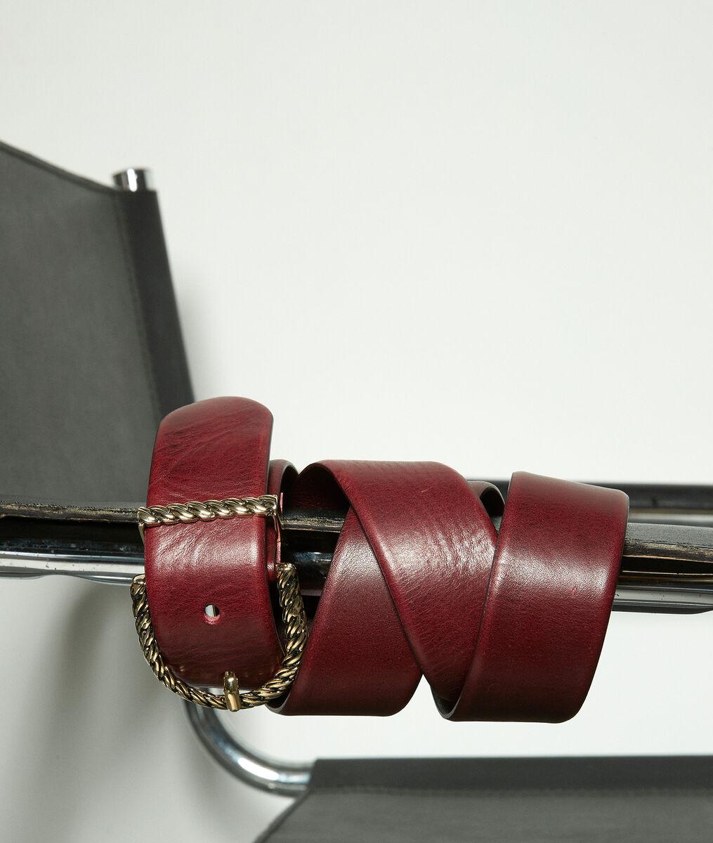 Ceinture en cuir bordeaux et à boucle fantaisie Emy PhotoZ | 1-2-3