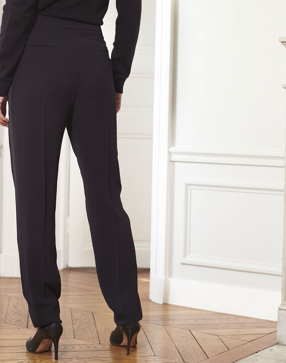 Hutch black cigarette trousers with satin band (4) - 1-2-3