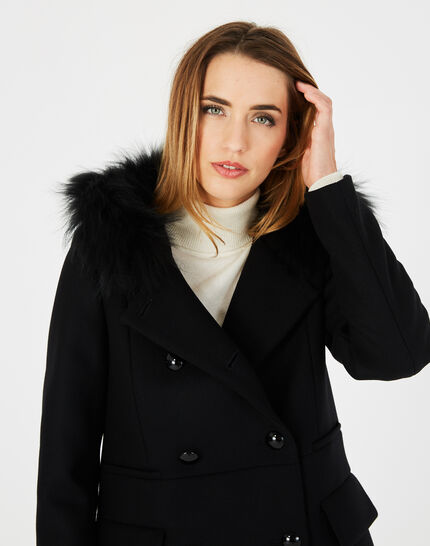 Joe black straight-cut coat with fur collar (3) - 1-2-3