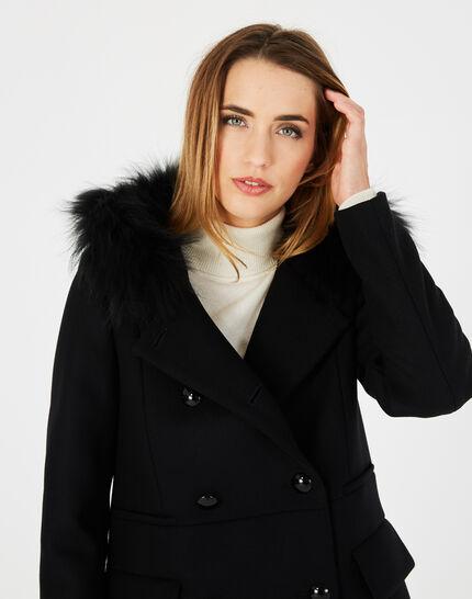 Manteau noir droit col fourrure Joe (3) - 1-2-3