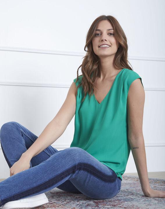 Neptune green dual-material blouse (1) - Maison 123