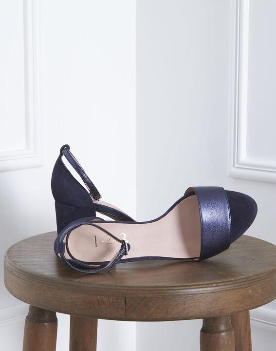 Sandales ouvertes bleues en cuir Khloe (2) - Maison 123