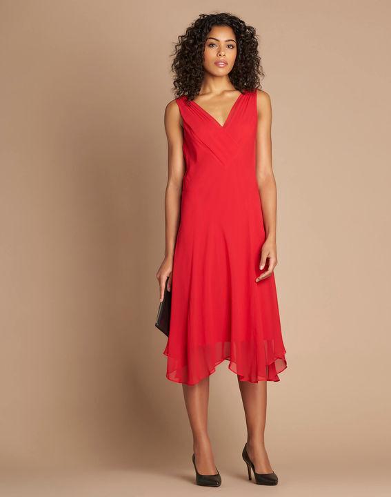 Foret red silk swirly midi dress PhotoZ | 1-2-3