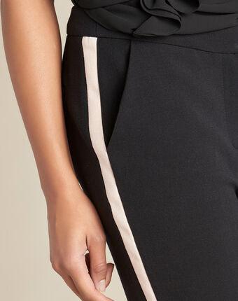 Pantalon de tailleur bicolore noir vadim noir.