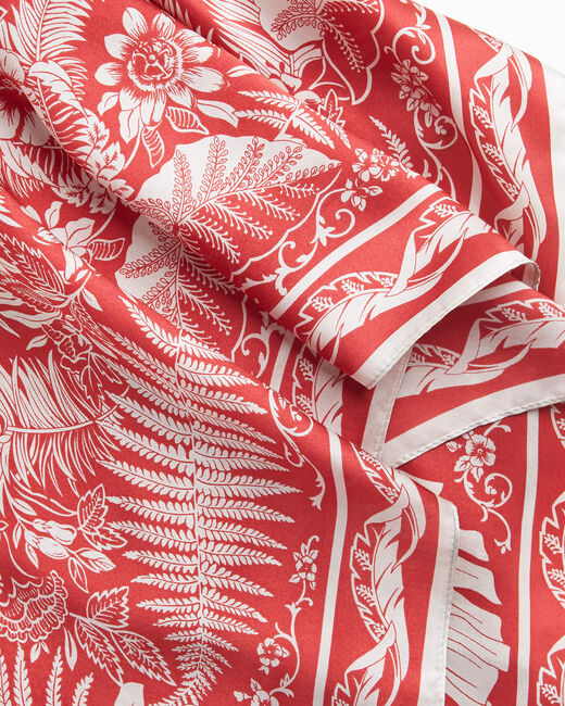 Alak red printed Arabesque and floral square silk scarf (2) - 1-2-3