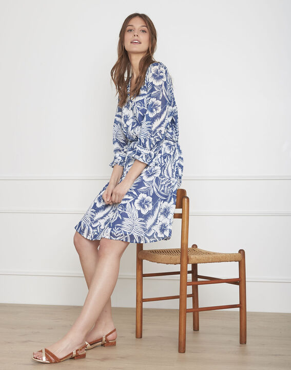 Weißes Kleid mit exotischem Druckmuster Liane PhotoZ | 1-2-3