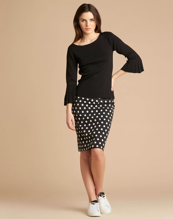 Nina black sweater with pagoda sleeves (2) - 1-2-3
