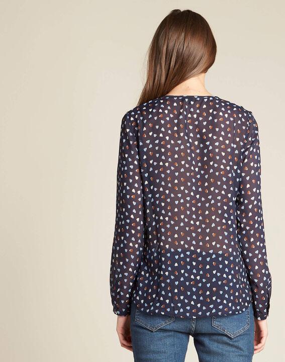 Guilene navy blue heart printed blouse (4) - 1-2-3