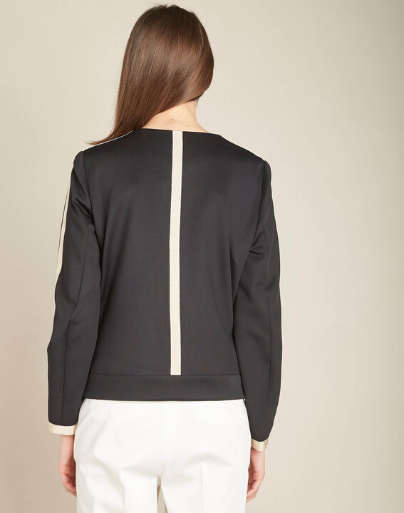 Cassy black belted jacket with zip in neoprene (4) - 1-2-3