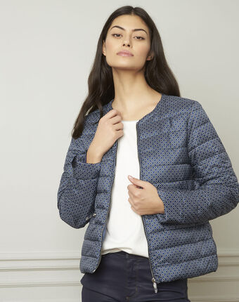 Dyvana short blue down jacket with fancy motifs navy.