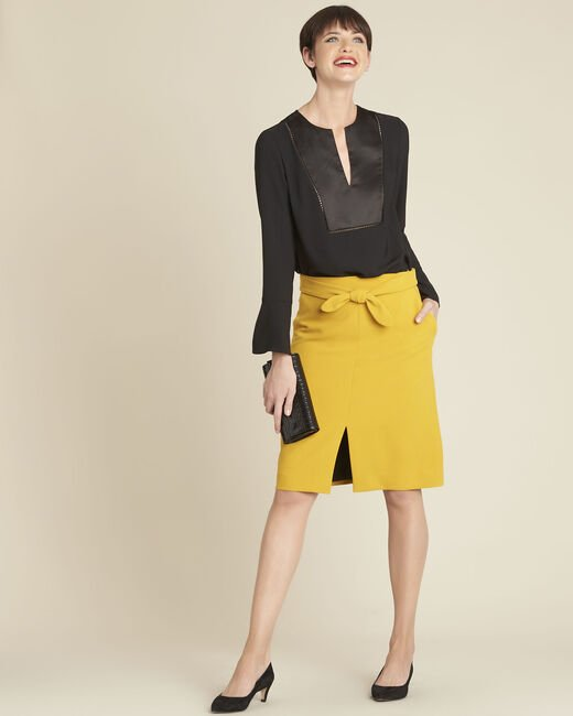 Agathe yellow skirt with knot and slit (1) - 1-2-3
