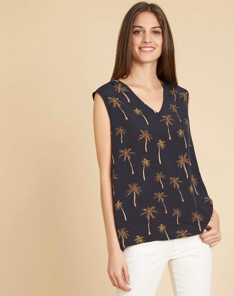 Gagny black dual fabric t-shirt with v-neck and palm print.