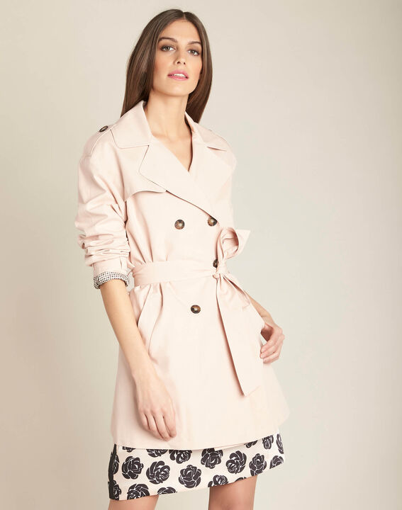 Klaudine double-breasted pink trench coat (3) - 1-2-3