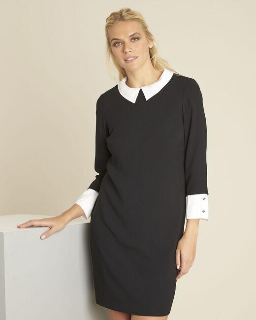 Schwarzes Kleid mit abnehmbaren Kragen Demoiselle (2) - 1-2-3