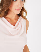 Daisy pale pink top with cowl neckline light pink.