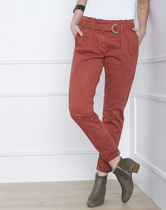 Pantalon acajou chino ceinturée Clovis (1) - Maison 123