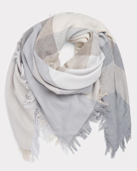 Echarpe gris chiné en laine mélangée Ella (1) - 1-2-3