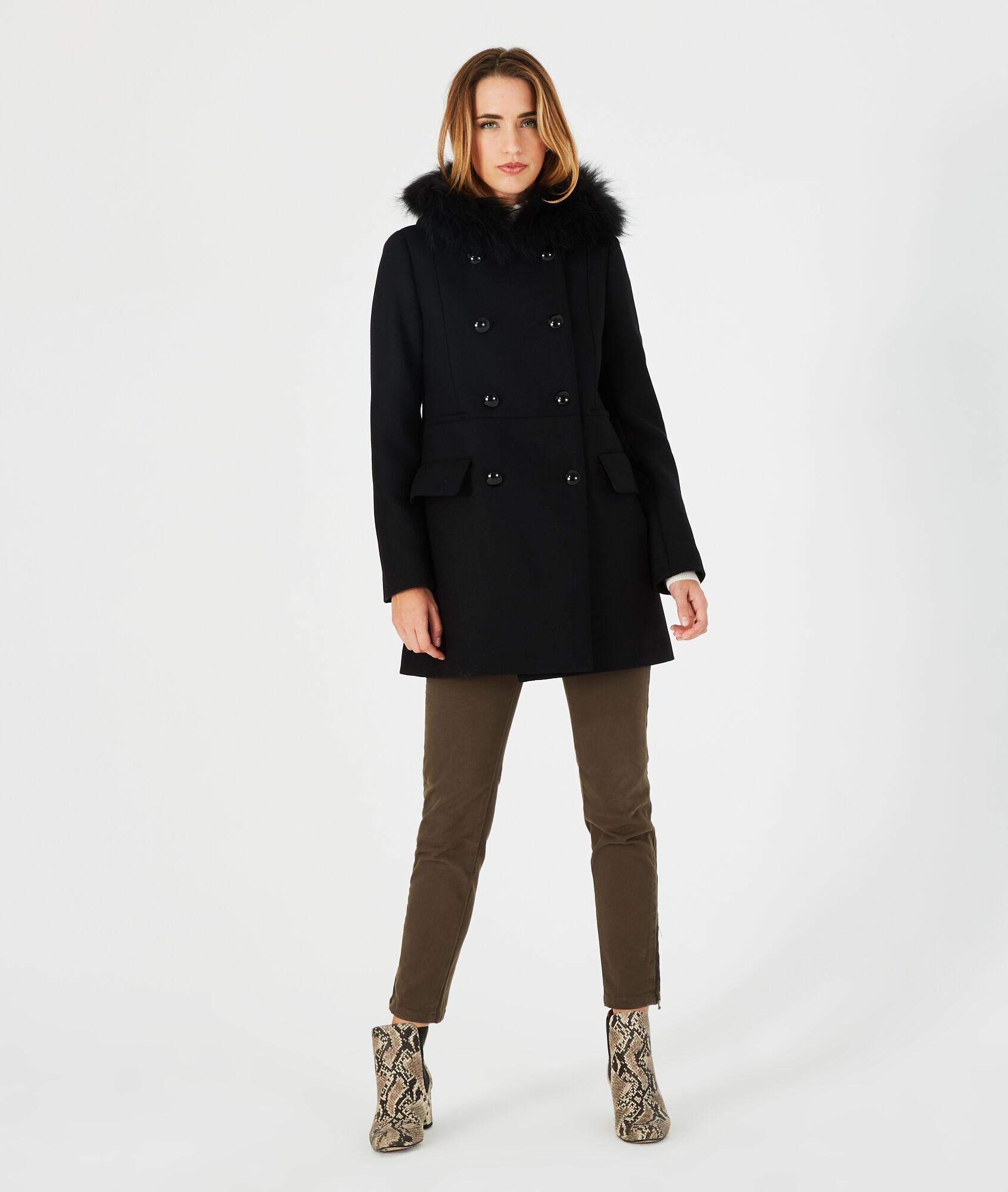 Manteau noir droit col fourrure Joe (1) - 1-2-3