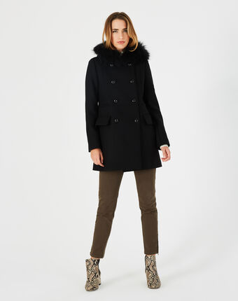 Joe black straight-cut coat with fur collar black.