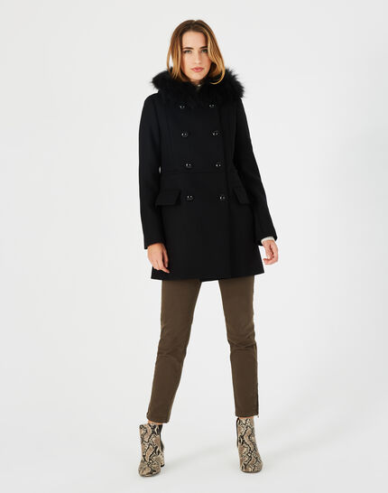 Joe black straight-cut coat with fur collar (1) - 1-2-3