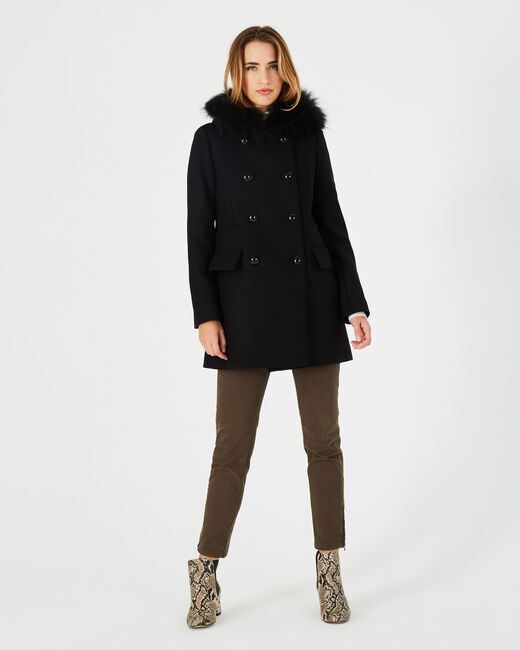Joe black straight-cut coat with fur collar (2) - 1-2-3