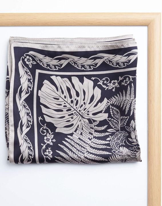 Carré de soie marine imprimé arabesque et fleur Alak (2) - 1-2-3