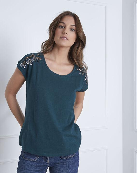 Tee-shirt vert foncé brodé Paola (2) - Maison 123