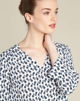 Gervaise navy blue blouse with floral print navy.