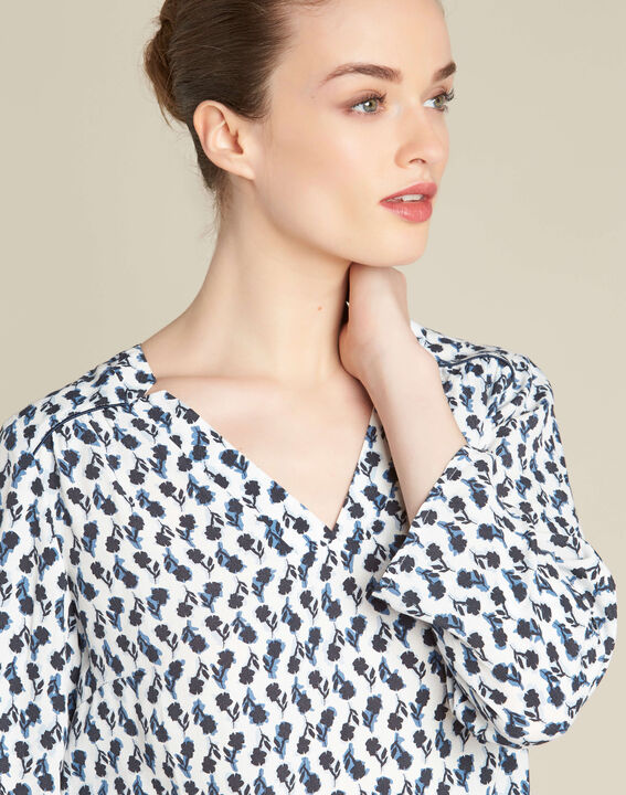 Gervaise navy blue blouse with floral print (1) - 1-2-3