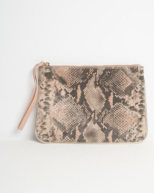 Droopy pink python print clutch with leather straps (2) - 1-2-3