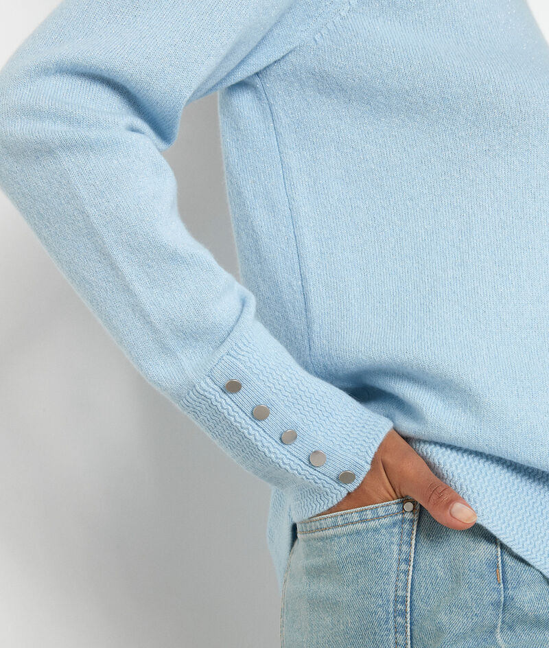 Klassischer Pullover aus recyceltem Kaschmir himmelblau Tim PhotoZ | 1-2-3