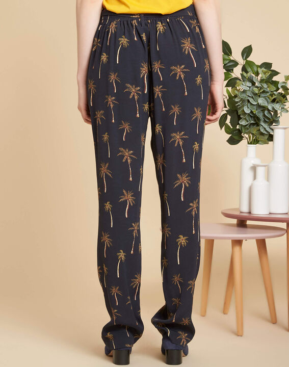 Pantalon noir imprimé palmier Scoty (4) - 1-2-3
