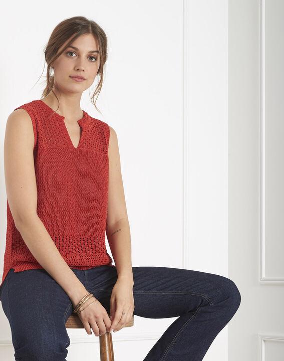 Pull rouge maille ajouré esprit crochet Albi PhotoZ | 1-2-3