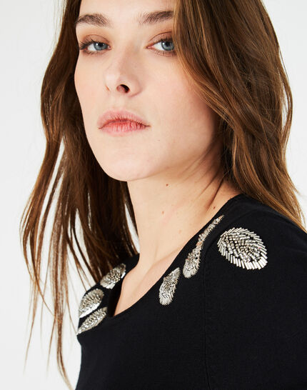 Plume black sweater with floral embroidery (3) - 1-2-3