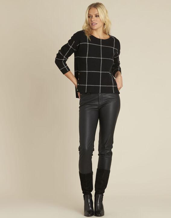 Zwarte gestreepte trui van gemengd wol British (2) - 37653