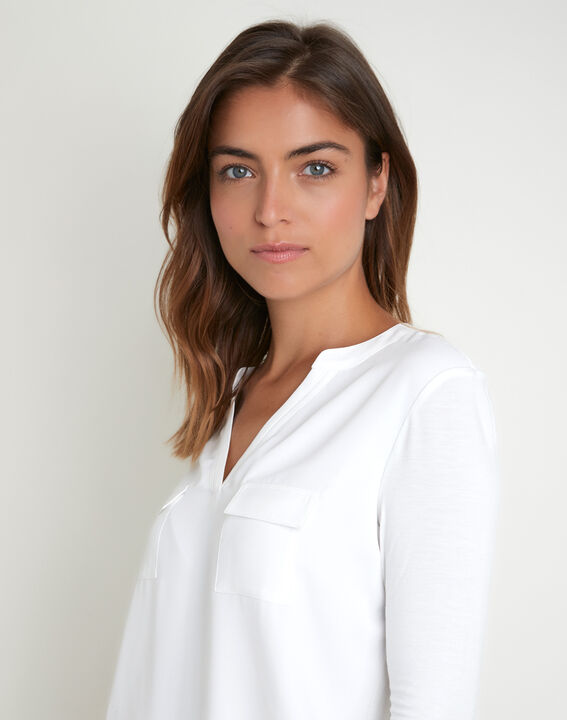 Ecru T-shirt uit twee materialen met Tunesische kraag Genna (3) - 37653