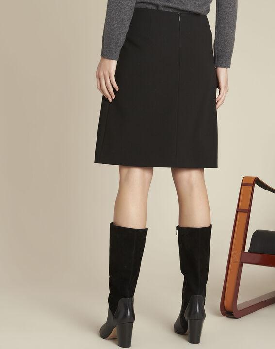Black A-line viscose-blend skirt (4) - 1-2-3
