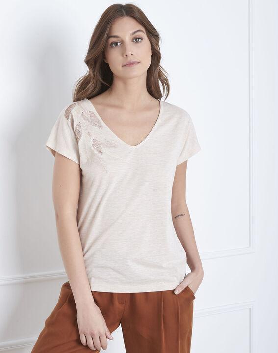 Beigefarbenes T-Shirt mit Feder-Stickerei Pandore (1) - Maison 123