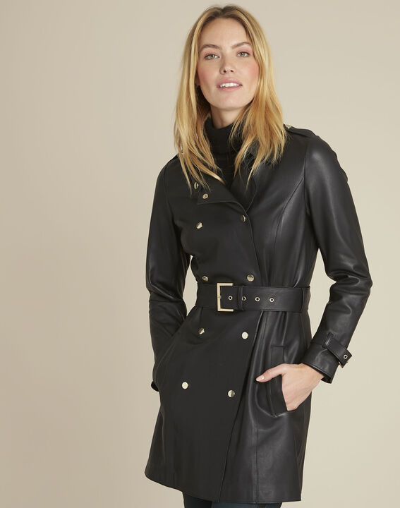 Buttoned black leather trench coat PhotoZ | 1-2-3