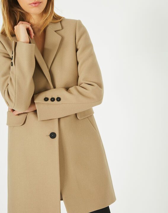Plume belted camel wool mix coat (2) - 1-2-3