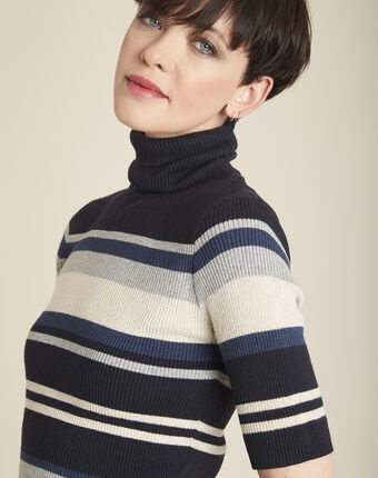 Barthe navy striped sweater with polo-neck navy.