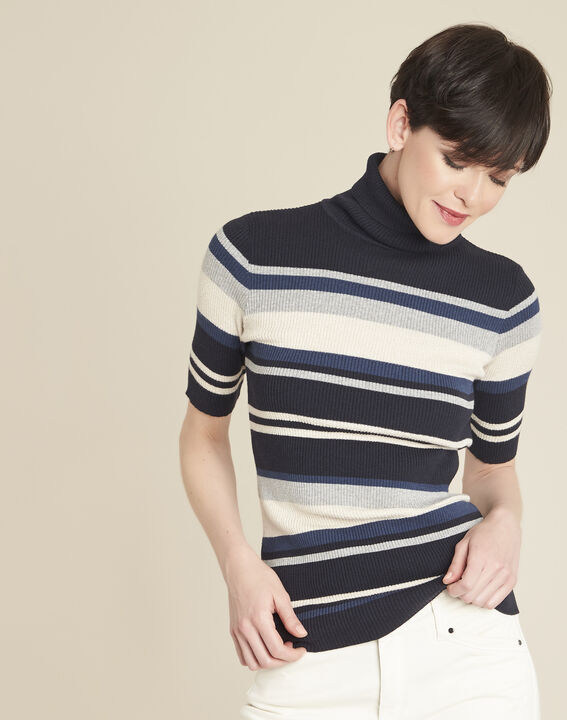 Barthe navy striped sweater with polo-neck (1) - 1-2-3