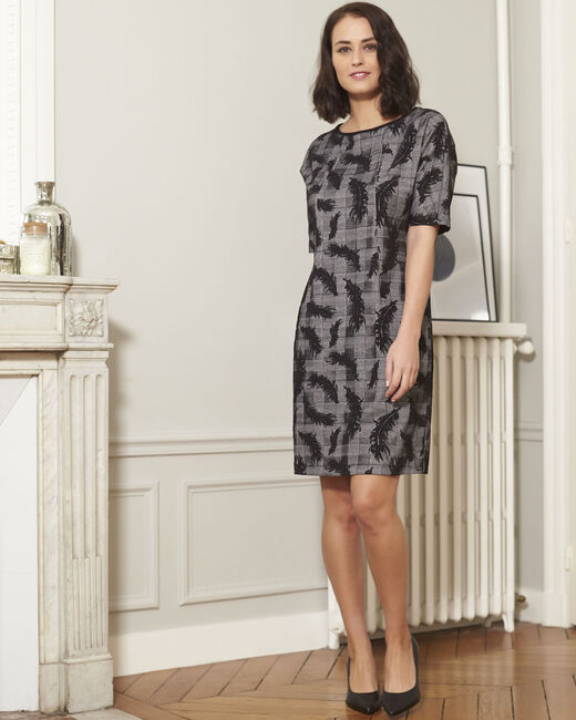 Destiny grey dress with feather print (1) - 1-2-3