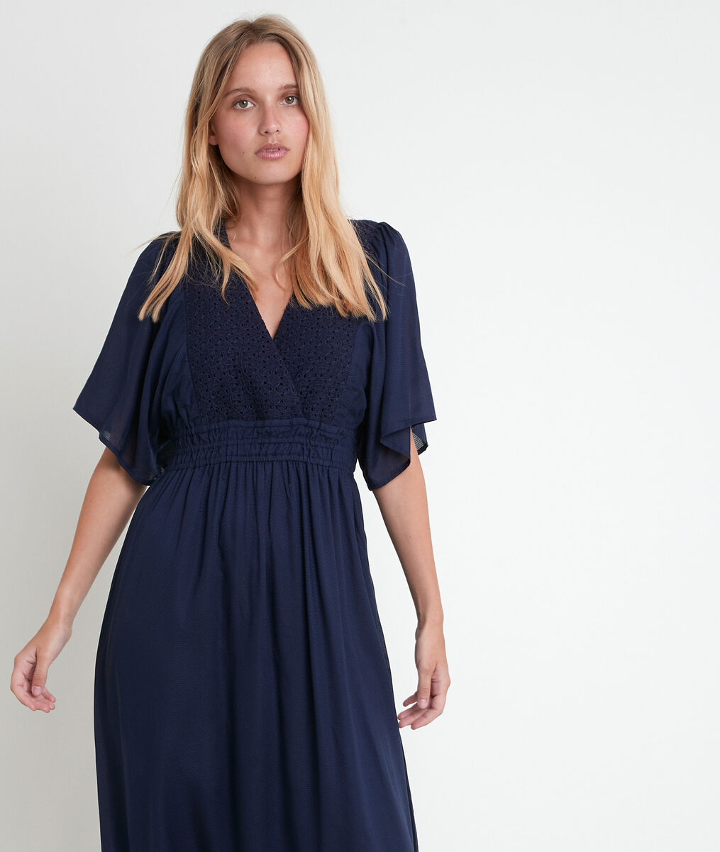 Robe bleue brodée Lauretta PhotoZ | 1-2-3