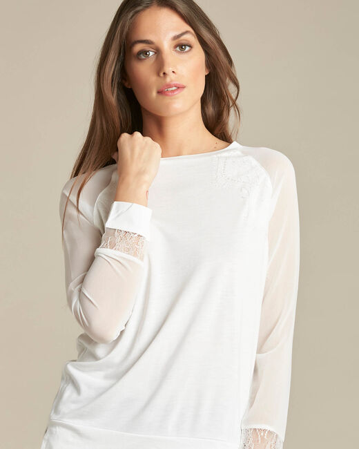 Ecaille fine white sweater in a dual fabric with lace (2) - 1-2-3
