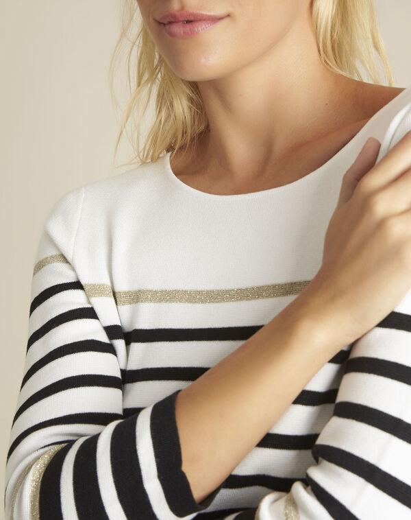 Boussole striped ecru pullover (2) - 1-2-3