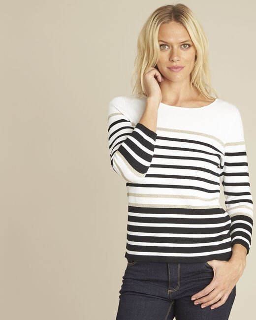 Boussole striped ecru pullover (2) - 1-2-3