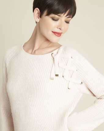 Bountie nude wool mix pullover with lacing detail salmon.