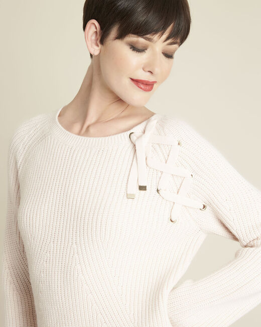Bountie nude wool mix pullover with lacing detail (1) - 1-2-3