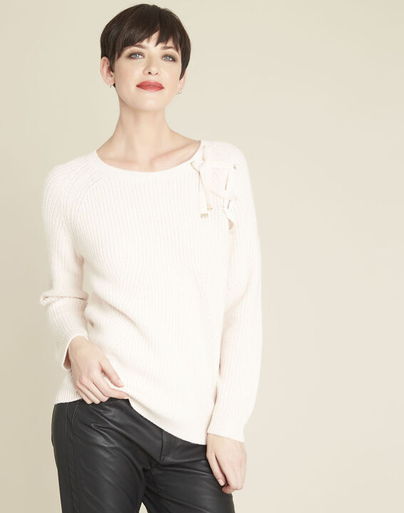 Bountie nude wool mix pullover with lacing detail PhotoZ | 1-2-3
